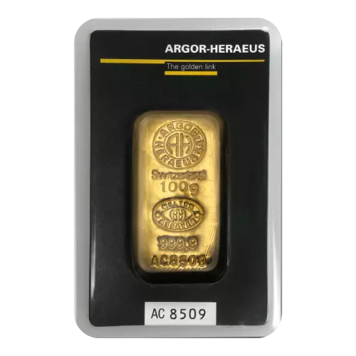 [PR/05371] Heraeus .9999 Gold Cast Bar 100g