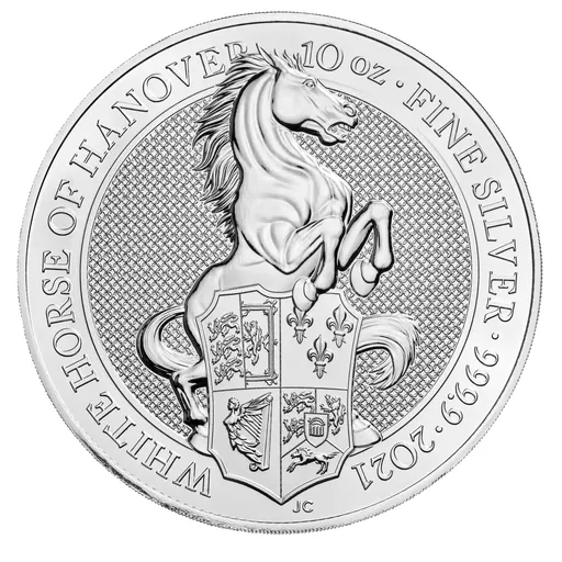 [PR/05400] 2021 10 oz Great Britain Queen's Beasts - The White Horse 9999 Silver BU Coin