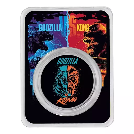 [PR/05419] 2021 1 OZ NIUE GODZILLA VS KONG FACE-OFF .999 SILVER COLORIZED BU COIN